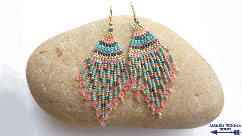 bijoux boho waksu_boucles d'oreilles tissées en perles de rocailles