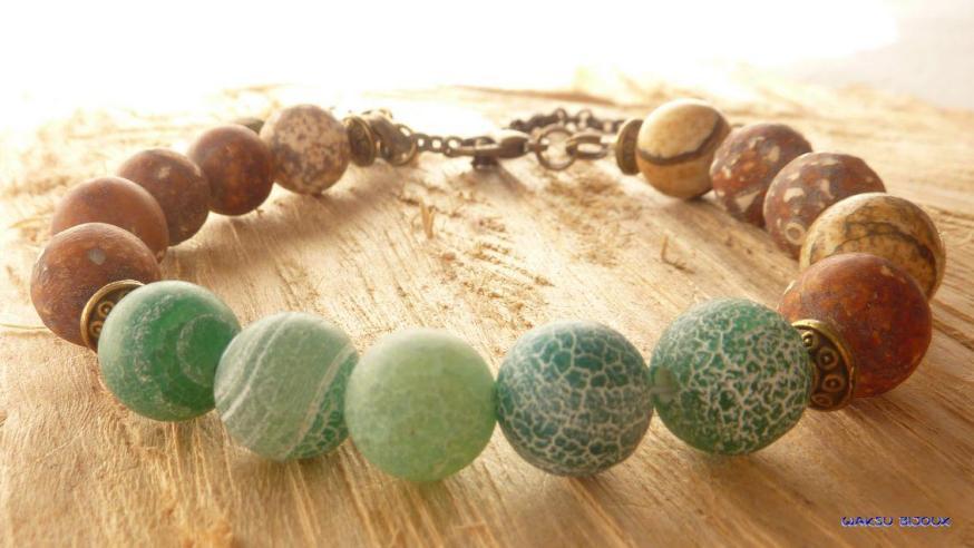 bijoux boho waksu_bracelet en perles de gemme unisexe
