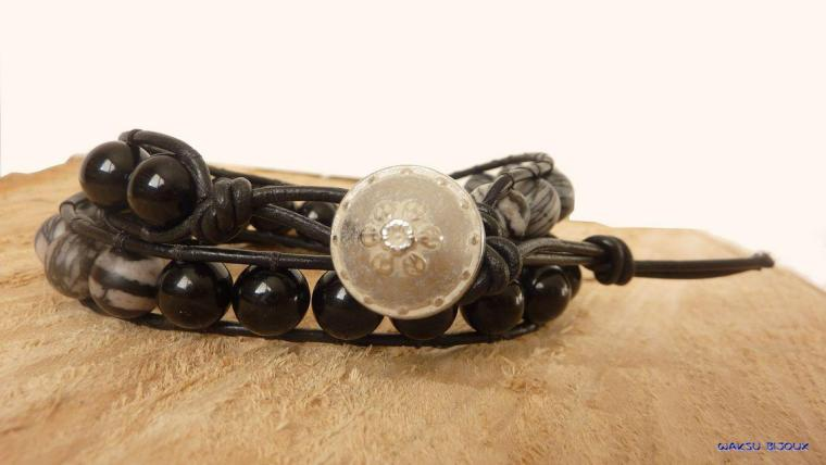 bijoux boho waksu_Bracelet wrap pour homme en perles de jaspe