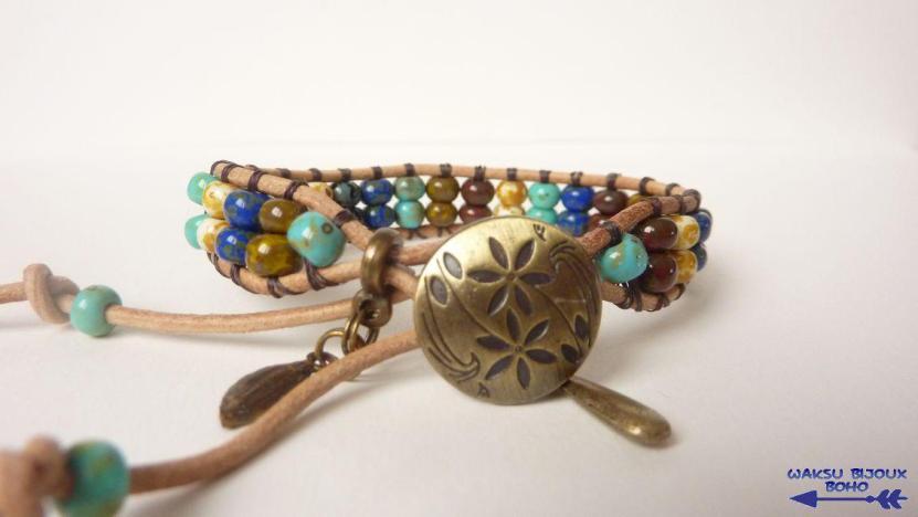 bijoux boho waksu_bracelet wrap rocaille Picasso et cuir