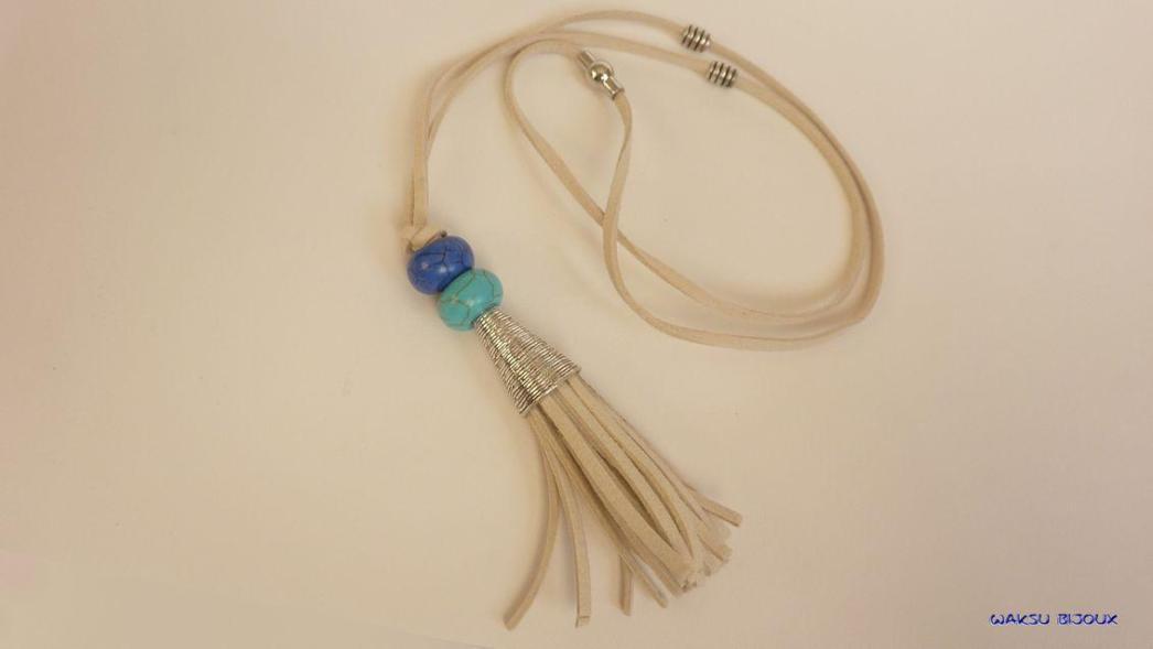 bijoux boho waksu_Sautoir suède, perles et pompon