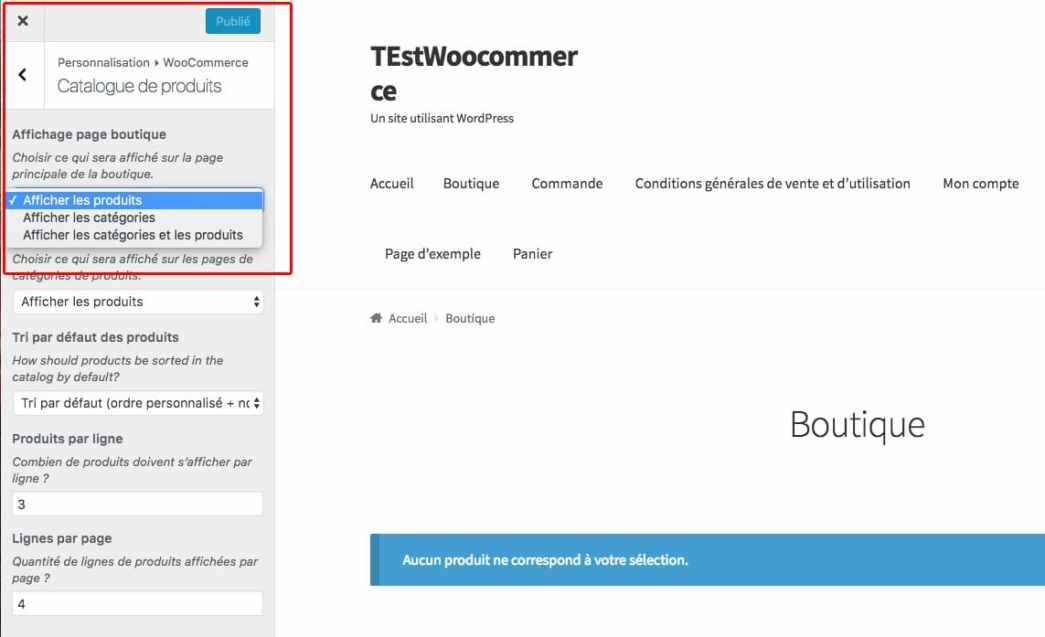 catalogue produits woocommerce