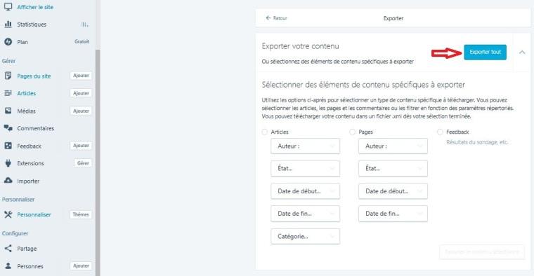 Exporter tout contenu blog wordpress