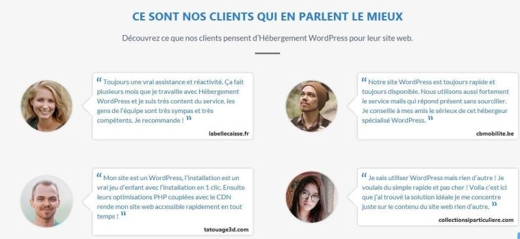 témoignages clients Hébergement WordPress